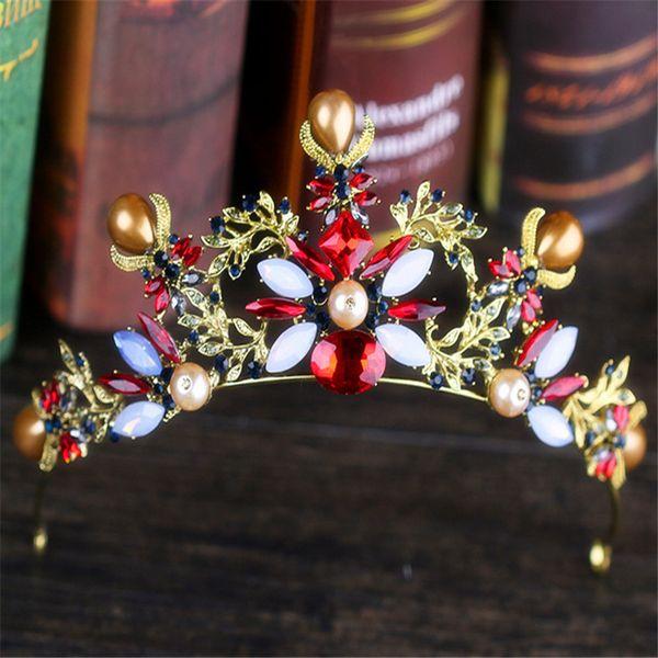 Beautiful diamond Baroque crown retro coloured crystal bride crown bride wedding dress headdress Bridal Jewelry