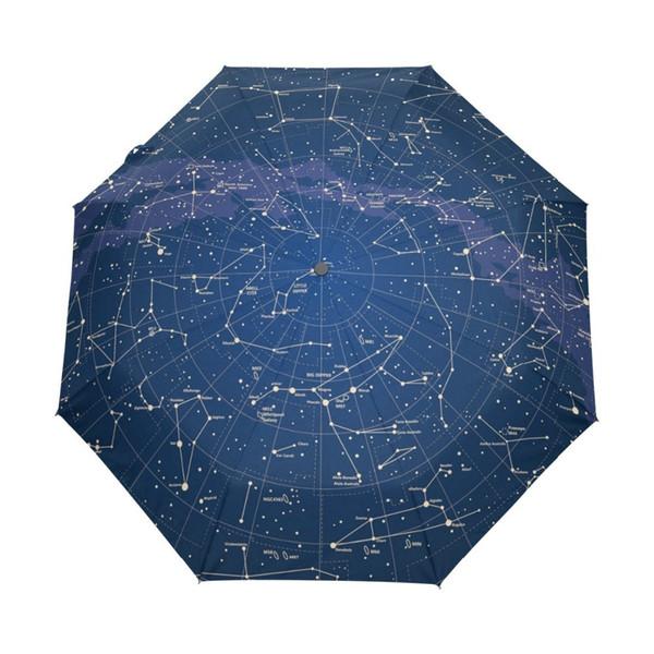 2018 Creativo Automático 12 Constelación Universo Galaxy Space Stars Umbrella Star Map Starry Sky Paraguas Plegable Para Mujeres T8190619