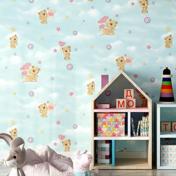 Dessin Animé Rose Bleu Beige Enfants Papier Peint Mignon Ours Papier Peint 3d Pour Bébé Garçon Filles Chambre
