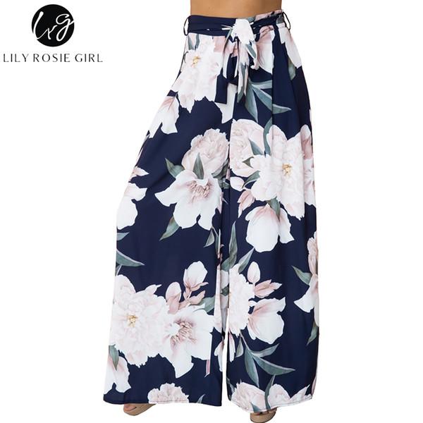 Lily Rosie Menina Floral Impressão Larga Perna Calças Mulheres Longo Casuais Calça Verão Boho Praia Elástico de Cintura Alta Chiffon Calças Y19071601