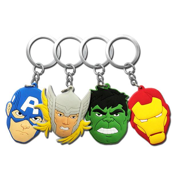 MOQ=10PCS the Avengers Super Hero Spider Man Batman Metal Key Chains Cute Cartoon Soft Key Ring PVC Anime Figure Boy Keychain Car Key Holder