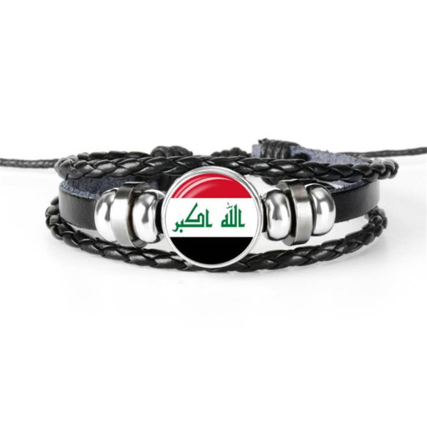 2019 Hot Retro Fashion Leather Rope Beaded Bracelet Glass Cabochon Iraq National Flag World Cup Football Fan Bangles For Womens Mens Jewelry