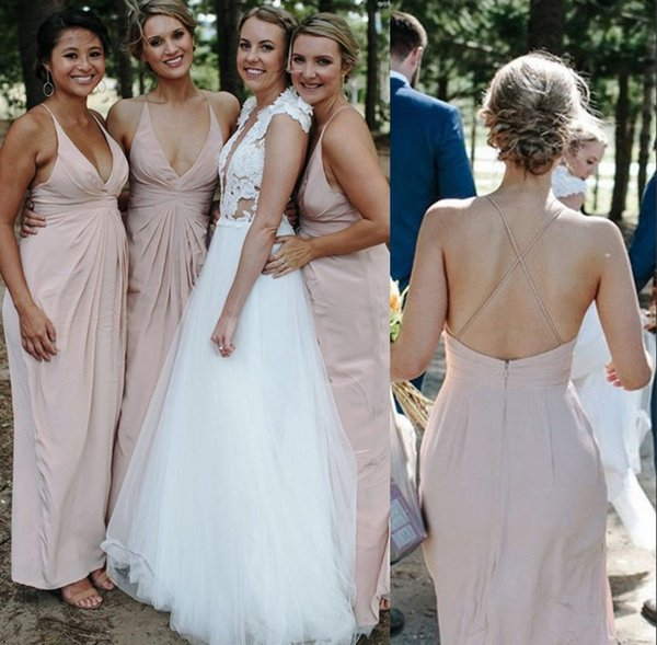 Pale Pink Chiffon Bridesmaids Dresses Summer Boho Beach Wedding Guest Party Gowns Criss Cross Backless Long Maid of Honors Plus Size BM0339