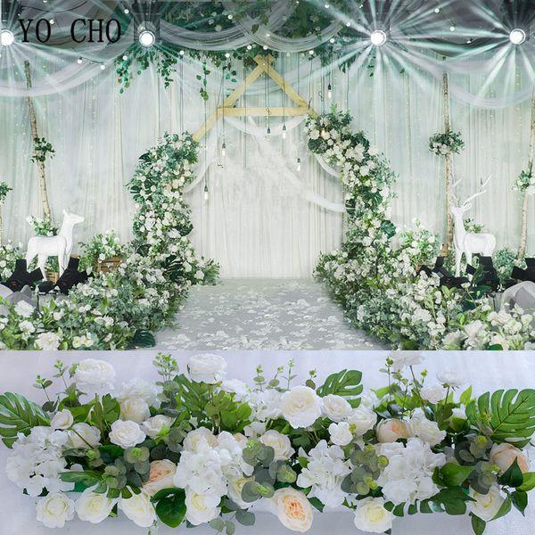 YO CHO Road Cited Flowers Wedding Wall Arrangement Supplies Artificial Silk Rose Hydrangea Flower Row Decor Romantic Custom DIY Backdrop