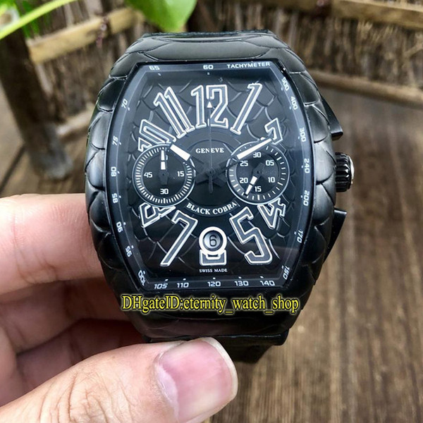 High-Quality NEW SARATOGE PXL V 45 CC DT Snake skin pattern Dial Japan VK Quartz Chronograph Mens Watch Black Case Rubber-Strap Sport Watche