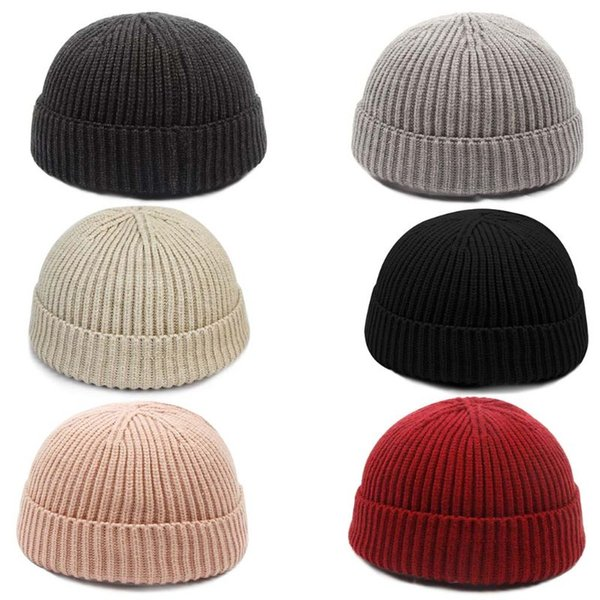 e2d07aec2f691f Unisex Winter Thicken Thread Ribbed Knitted Hat Vintage Korean Solid Color  Cuffed Short Melon Cap Beanie