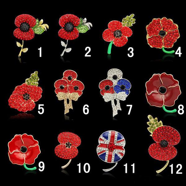 2019 New fashion Royal British Legion brooches Red Crystal Stunning Poppy Flower Pins for Lady Fashion Badge Brooch As Princess Kate