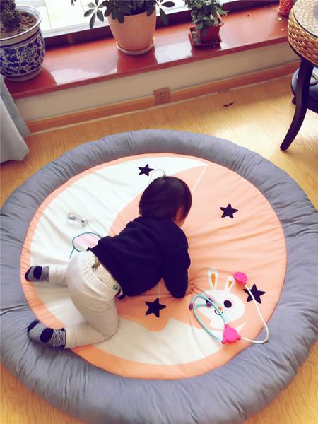 New Moon Rabbit Cute Cartoon Cushion Children Gray Borders Play Stain Resistant Cushion Children ' ;S Room Mattress