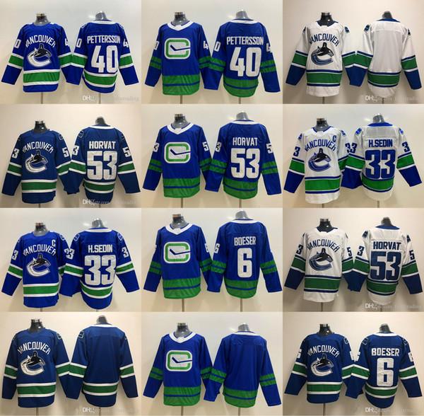 2019-20 53 Bo Horvat Vancouver Canucks 40 Elias Pettersson 6 Brock Boeser 33 Henrik Sedin Hockey Jerseys
