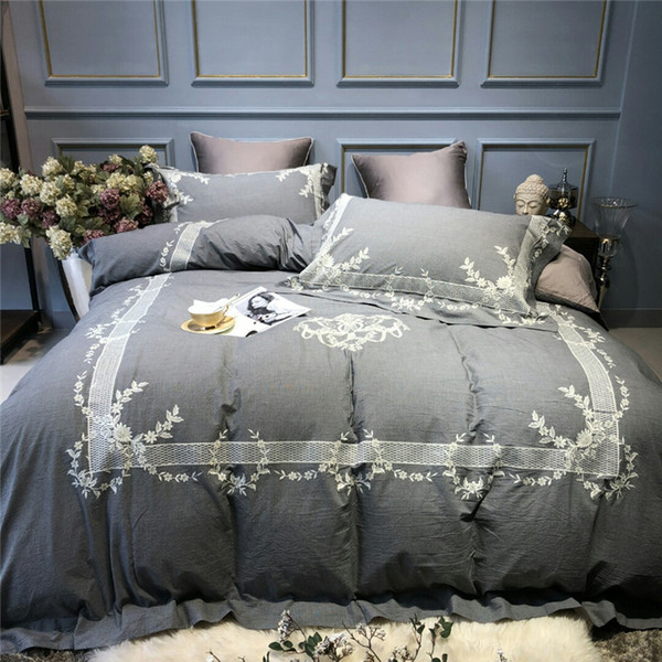 Egyptian Cotton Luxury Embroidery Bedding Set Queen King size Bed sheet Duvet Cover Bed sheet set pillowcase bed set