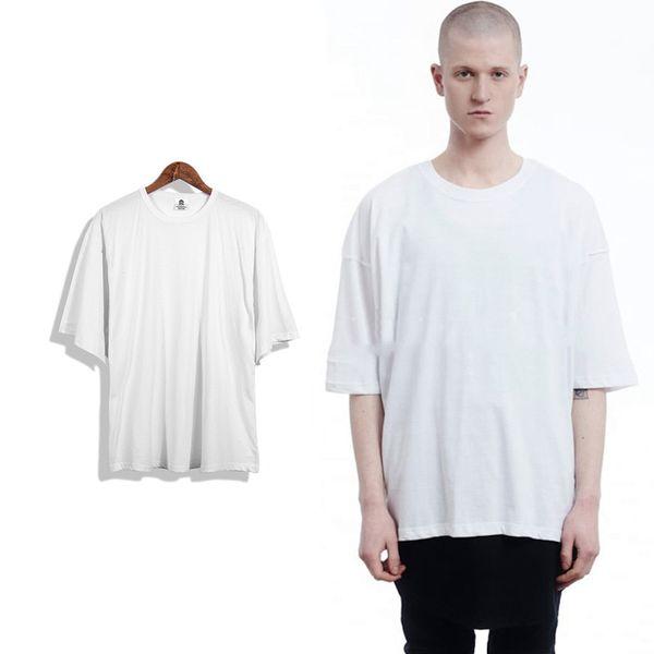 2017 Summer White 8 Color Men Short Sleeve Extended Hip Hop T shirt Oversized Tyga Kpop Swag Men's t-shirt Casual