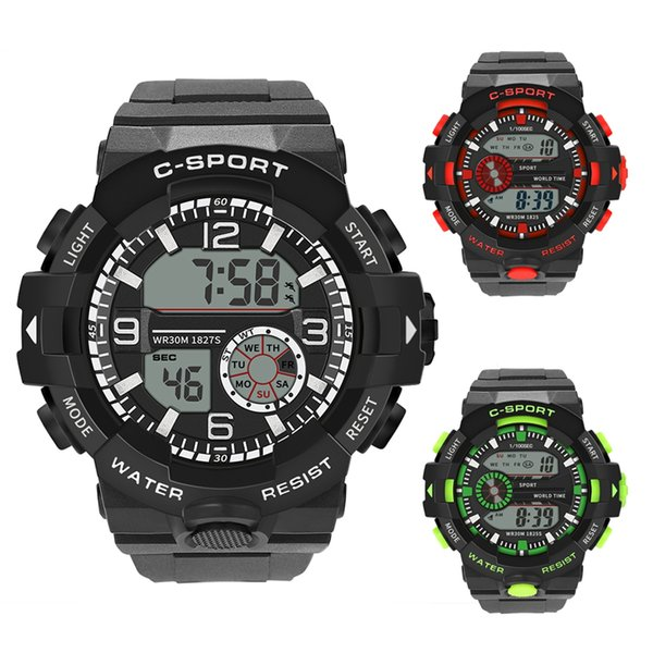 Sports Electronic Watch LED Display Casual Style Wrist Watch for Male Gift