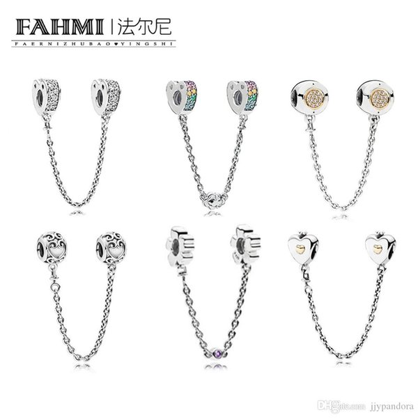 FAHMI 100% 925 Sterling Silver Charm Heart & Crown Safety Chain MULTI-COLOUR ARCS OF LOVE SAFETY ENCHANTED SAFETY WILDFLOWER OF