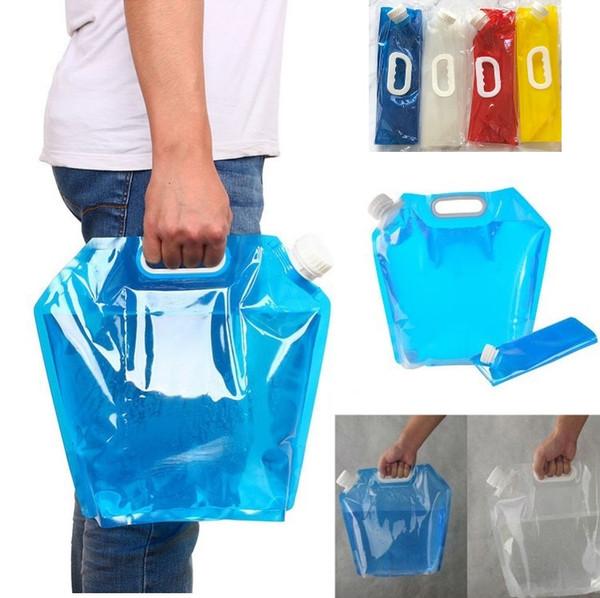 Nuovo 5L sacchetti di acqua pieghevoli all'aperto sacchetto di acqua potabile pieghevole sacchetto di trasporto di acqua per contenitore per campeggio esterno Escursionismo Picnic 100pcs 4893