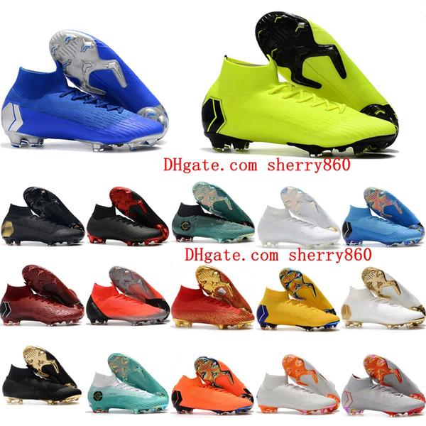 2018 chaussures de football pour hommes Mercurial Superfly VI 360 Elite chaussures de football Neymar Ronaldo FG SuperflyX VI CR7 IC chaussures de soccer à crampons hautes doré