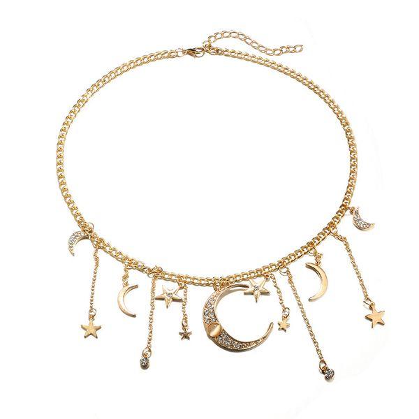 Vintage Ay Yıldız Kolye Rhinestone Opal Altın Kaplama Kolye Kolye Etnik Yıldız Kadınlar için Ay Püskül Kolye Moda Takı