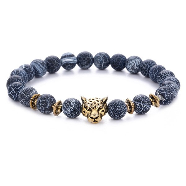 Fashion Beaded Bracelet 8MM black weathered agate alloy leopard head beaded bracelet European and American jewelry hot section