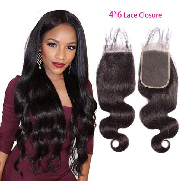Fermeture de lacet 4X6 indien de cheveux vierges avec des cheveux de bébé couleur naturelle 1B Body Wave 6X4 fermeture produits de cheveux vierges