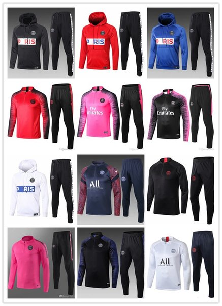 best selling new 2018-19-20-21 Paris Mens Tracksuit Real Madrid Paris Sets soccer Tracksuit Sets jacket MBAPPE survetement Football Training suit