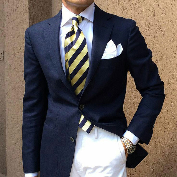Latest Designs Navy Blue Men Suits for Wedding Groom Tuxedos 2Piece Man Business Suits Blazers Coat Pants Ternos Masculino Costume Homme
