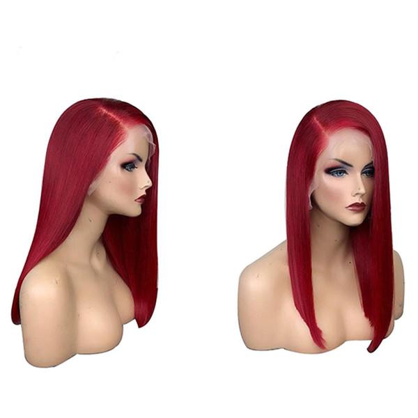 Peluca delantera coloreada del cordón del pelo humano del cordón rojo con el pelo del bebé Preplucked 13x6 del cordón de Glueless Peluca delantera del cordón Pelo recto de Remy