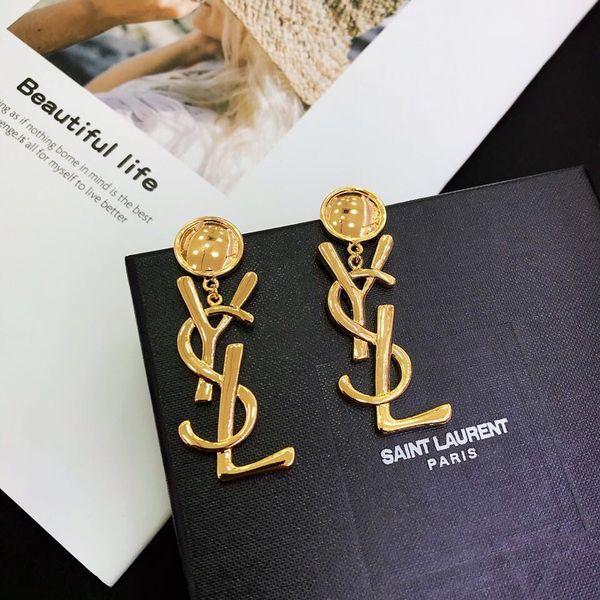 19ss France Y L Letter Gold Button Bling Stud Earrings No Box Elegant Orecchini Beaded Earrings