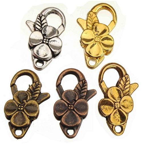 100 pz nuovi accessori moda gioielli fai da te vintage fiore d'argento waterdrop grandi levette gancio aragosta in metallo chiusura per monili che fanno 25 * 14mm