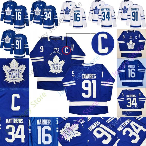 best selling 2019 Toronto Maple Leafs Jersey C Patch 91 John Tavares A Patch 16 Mitch Marner 34 Auston Matthews Home Men Adult Size S-3XL