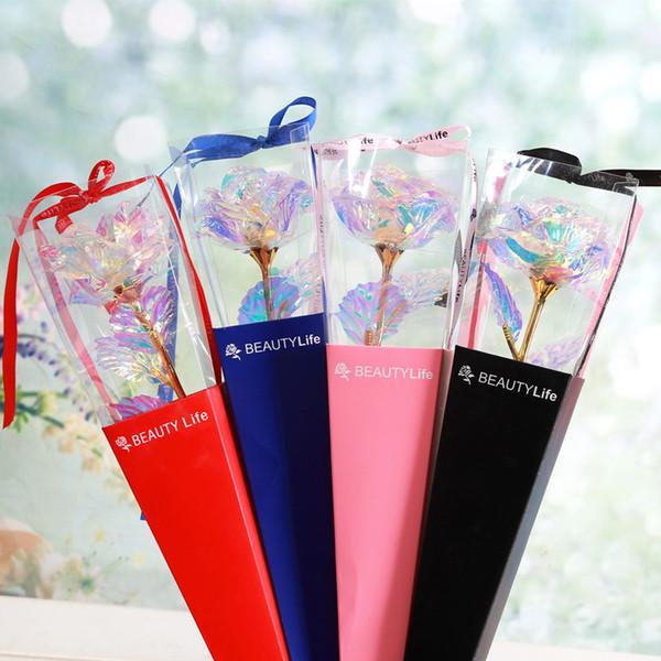 Farbüberzug Goldfolie Blume Für Paare Beliebte Rose Handwerk Geschenk Für Valentinstag Weihnachten Favor Künstliche Blumen Einzel 4 2ky Ww