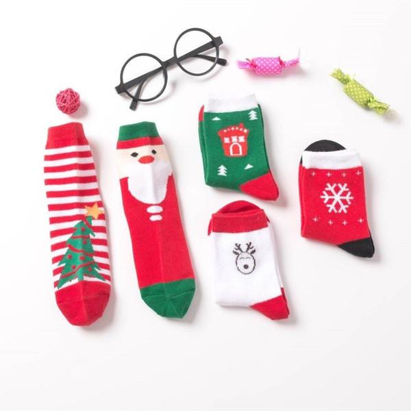 5Pairs Рождество Тематические Дети Хлопок мультфильм жаккардовые носки Красный рождественские Детские носки впитывают Сладкие Проницаемость Мягкие носки