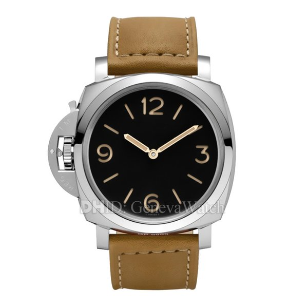 Fashion Luxury Watch PAM00557 Mechanical Automatic Wristwatches 316L Steel Case Brown Genuine Leather Strap Mens Designer Watches With Box