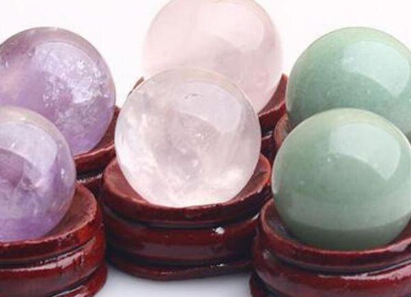 Crystal 6pc Natural Rose Pink Quartz Crystal & Amethyst & Aventurine sphere ball +wood stand 40mm