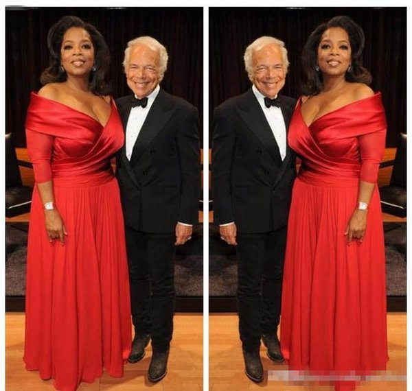 Elegant Oprah Winfrey New Red Off The Shoulder Evening Dress Long Chiffon Formal Holiday Wear Party Gown Custom Made Plus Size 2019