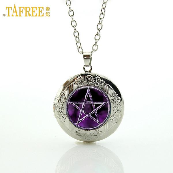 TAFREE Marque Meilleure vente violet Pentagram Pendentif Collier Japon Occulte Bijoux En Verre Cabochon Médaillon Collier Femmes N695