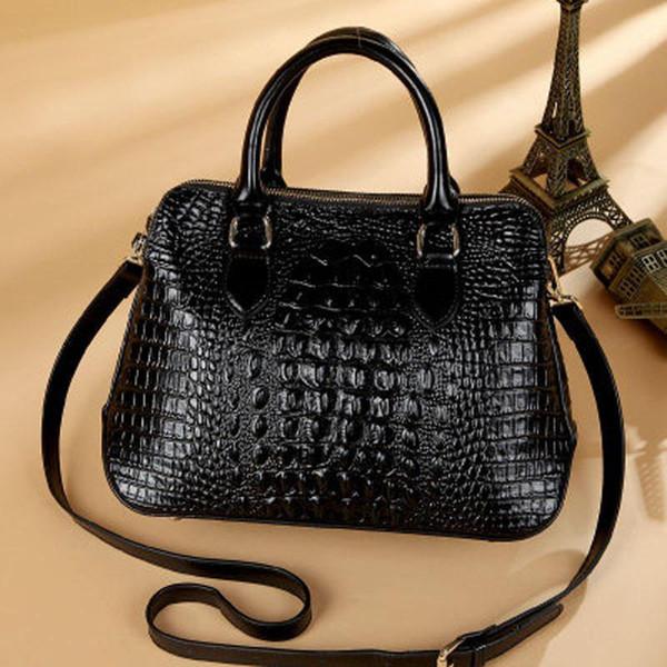Europäische und amerikanische geninus lederhandtaschen krokoprägung schulter diagonal tasche mode handtasche