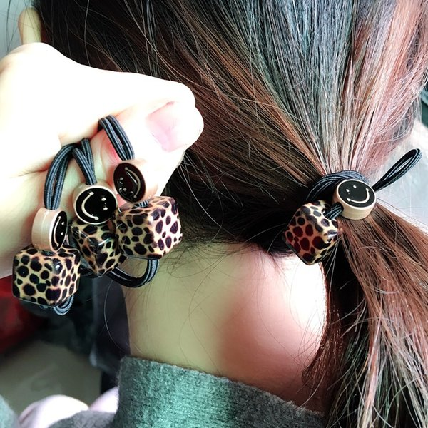 Hot Sale Charms Hair Rope For Women Fashion Leopard Cube Beads Hair Ropes Channel Knot Elastic Bands For Girls Korean