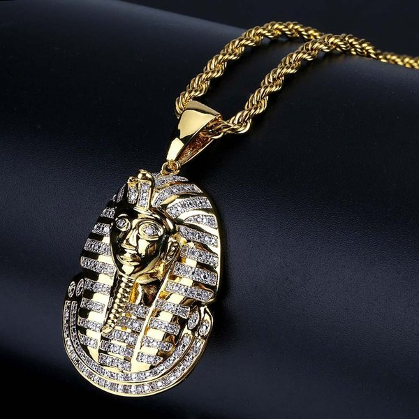 Hip Hop Jewelry Iced Out Goldsilver Egyptian Pharaoh Pendant Necklace Micro Pave Zircon Charm Chain for Women Men