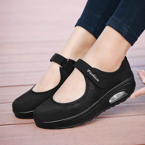 LSYSAG Kadınlar Sneakers Nefes Salıncak Ayakkabı Beyaz Hemşire Ayakkabı Anne Artı boyutu Platformu Düz Zapatillas Mujer -38