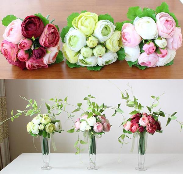 silk Tea Rose Bouquet simulation artificial flower camellia rose bunch four colors for Bridal bouquet wedding home party decoration