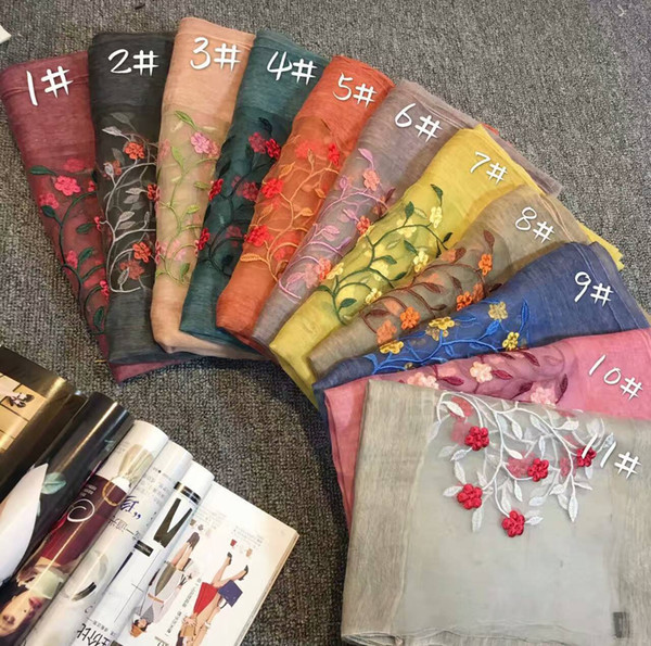 2017 women's fashion silk cotton scarf shawl collar girl pop wind embroidery may the flowers free shipping in China