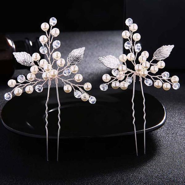 2 pcs/set silver crystal simulated pearls leaves hairpins clips hair sticks bridal bride noiva wedding veil party headwear