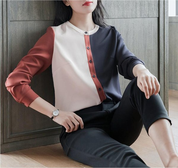 Long Sleeve Chiffon Stand Collar Shirt Women Stitching 2019 Spring New Korean Fashion Ladies Blouse Tops Loose Plus size S-4XL