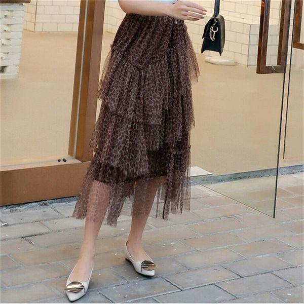 Verano de Las Mujeres Faldas de La Torta de Moda de Cintura Alta Elástica Delgada Leopardo Impreso Flojo Faldas Largas de Las Señoras Vestidos Sexy Vestido de Fiesta de Tamaño Largo