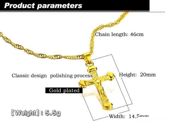 Cadeau de Noël Vintage Femme d'or simple mode collier couleur bijoux cadeau de fête pendentif croix Lady Chocker gros
