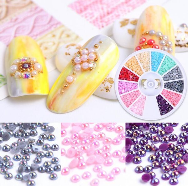 Tatyking Nail Jewelry Super Fine 2mm Semicircle Color Jelly Pearl Nail Jewelry Nail Art Decoration DIY for Salon MJ0138