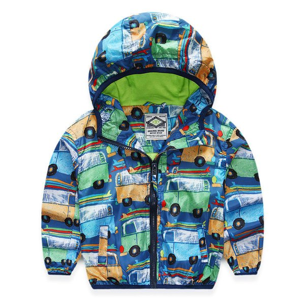 2019 Spring Autumn Children Jacket For Boys Print Cars Baby Boys Outerwear & Coats 2-8 Years Kids Windbreaker Boys Clothes