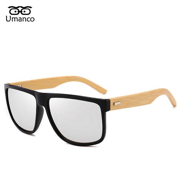 Umanco Klasik Bambu Ayak Ahşap Güneş Erkekler Kadınlar Vintage Moda Renkli Güneş Gözlükleri Erkek Kadın Sürüş Eyewears UV400