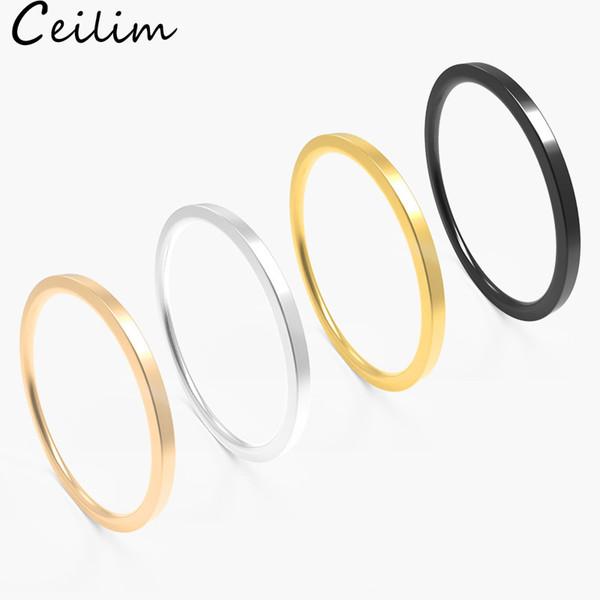 Anelli semplici dell'acciaio inossidabile di disegno semplice 1mm largamente anelli della fascia di cerimonia nuziale delle donne degli uomini 4 colori alti lucidati nessun regalo di Accessorie dei monili di buona qualità di dissolvenza