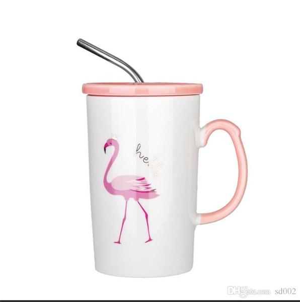 Flamingo Keramik Wassertasse Rosa Und Zartes Mädchen Herz Kaffeetassen Griff Becher Abdeckung Edelstahl Stroh Office 7 5deE1