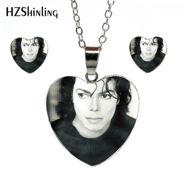HZShinling HES-039 Nouveau Michael Jackson Collier Coeur Moonwalk Pendentif Classique Ensemble Bijoux Argent Coeur Michael Artiste Collier